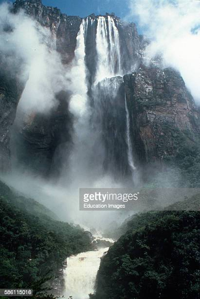 Angel Falls tallest in the world At 3212 feet it is almost three times the height of the Empire State Building250 ft falls from the top of Auyantepyi...