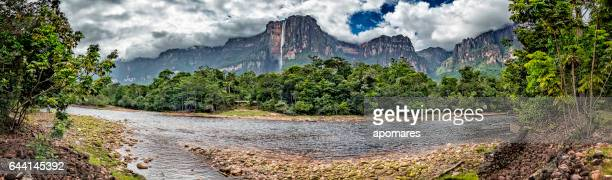 angel falls view from churun river camp. canaima national park - venezuela stock pictures, royalty-free photos & images