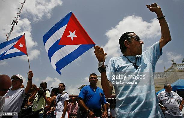 Angel Febles of Miami Beach Florida waves a Cuban flag and shouts Viva Cuba libre in front of Versallies Restaurant in the Little Havana neighborhood...