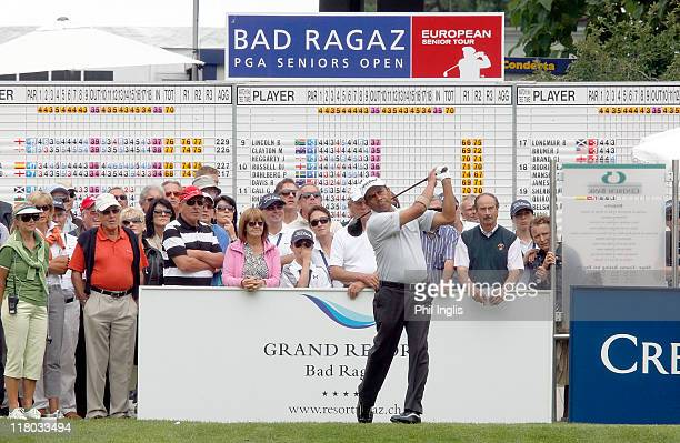 Angel Fernandez of Chile in action on the 1st tee during the final round of the Bad Ragaz PGA Seniors Open played at Golf Club Bad Ragaz on July 3,...