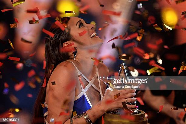 Angel Flukes reacts after winning the finals of the tv show 'Das Supertalent' at MMC studios on December 17 2016 in Cologne Germany
