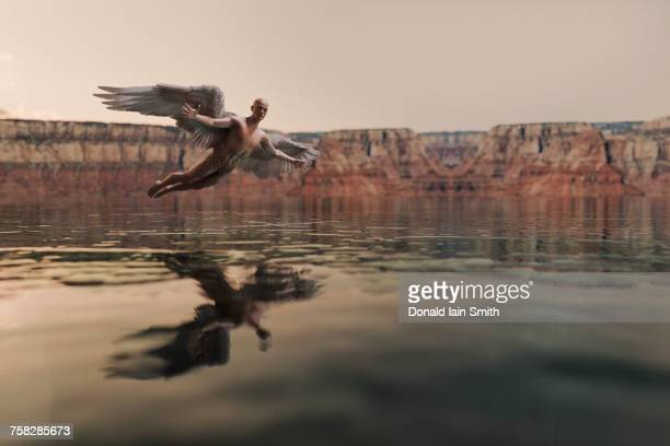 angel flying over water - elysium stock pictures, royalty-free photos & images