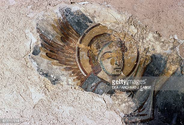 Angel fresco in the Byzantine church of Agios Georgios Apodoulou Crete Greece