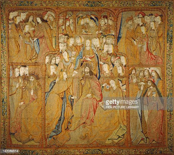 Angel Gabriel is sent by the Lord to announce to Mary the birth of Jesus Christ 15th century Flemish tapestry