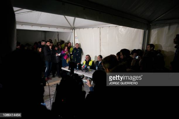 Angel Garcia delegate of Malaga's Civil Engineers talks to the media in Totalan southern Spain on January 22 near the site where a child fell down a...