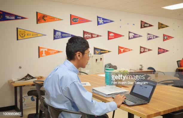 Angel Garcia takes a survey in the counselor's office at Cristo Rey High School in Fort Worth Monday July 23 2018