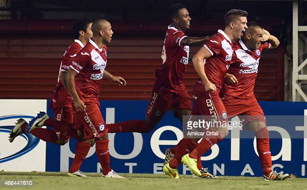 Angel Garre of Argentinos Juniors celebrates with his teammates after scoring the second goal of his team during a match between Argentinos Juniors...