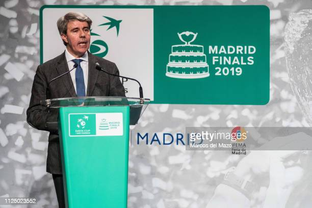 Angel Garrido President of the Community of Madrid speaking during the draw ceremony of the Davis Cup tennis finals 2019