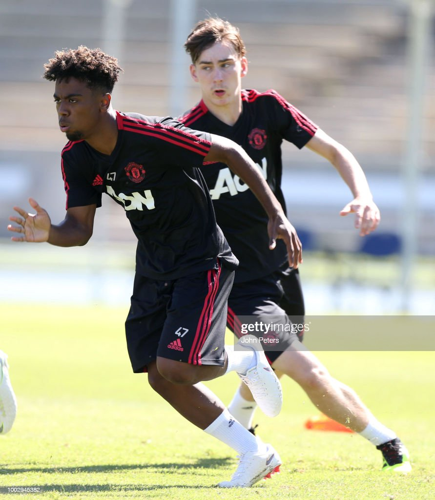 Angel Gomes (L) and James Garner of Manchester United in action during a Manchester United pre-season training session at UCLA on July 20, 2018 in Los Angeles, California.