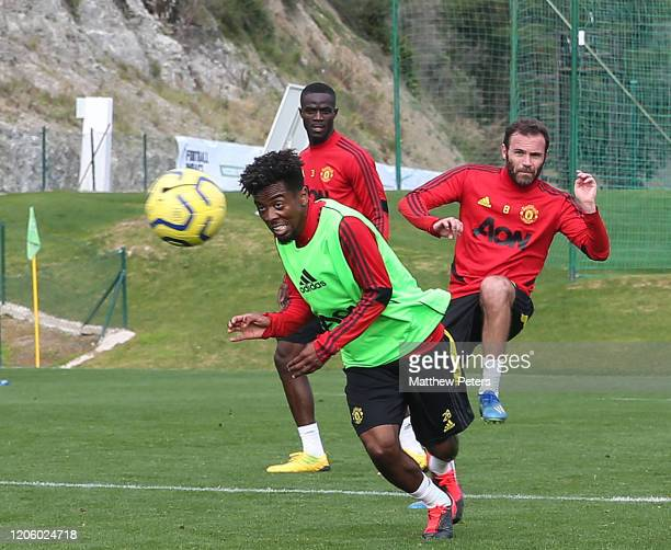 Angel Gomes and Juan Mata of Manchester United in action during a first team training session on February 13 2020 in Malaga Spain