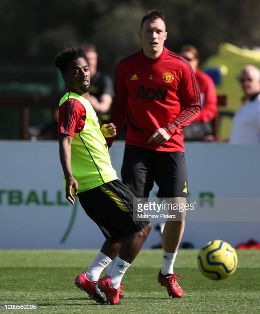 Angel Gomes and Phil Jones of Manchester United in action during first team training session on February 11, 2020 in Malaga, Spain.