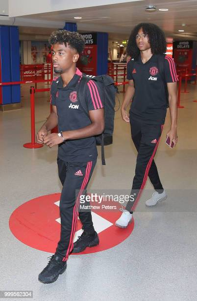 Angel Gomes and Tahith Chong of Manchester United depart for the club's preseason tour of the USA at Manchester Airport on July 15 2018 in Manchester...