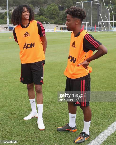 Angel Gomes and Tahith Chong of Manchester United take part in a first team training session as part of their preseason tour of the USA at UCLA on...