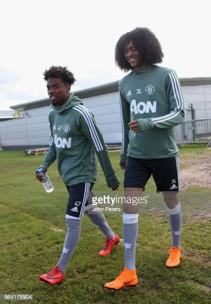 Angel Gomes and Tahith Chong of Manchester United U18s in action during an U18s training session at Aon Training Complex on May 2 2018 in Manchester...