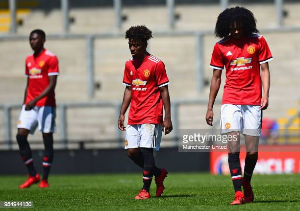 Angel Gomes and Tahith Chong of Manchester United U18s show their disappointment during the U18 Premier League National Final match between...