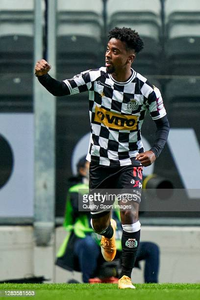 Angel Gomes of Boavista FC celebrates after scoring his team's first goal during the Liga NOS match between Boavista FC and SL Benfica at Estadio do...