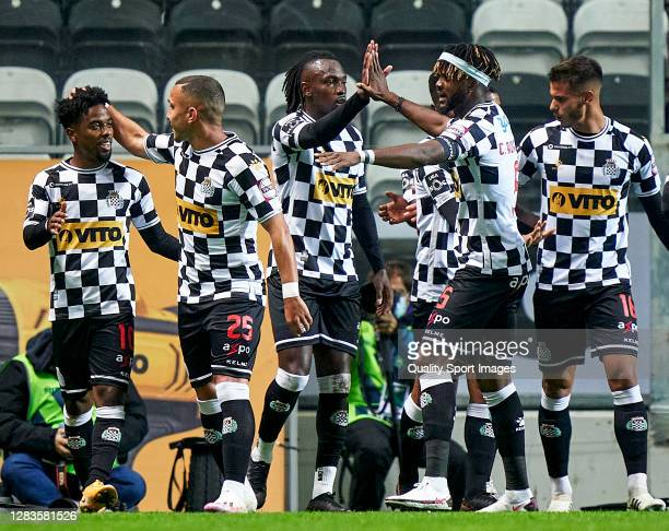 Angel Gomes of Boavista FC celebrates with his team mates after scoring his team's first goal during the Liga NOS match between Boavista FC and SL...