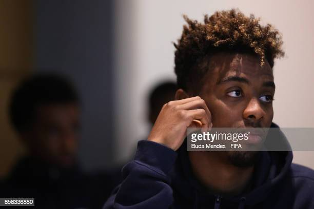 Angel Gomes of England attends a FIFA Ethics Workshop ahead of the FIFA U17 World Cup India 2017 tournament at Novotel Kolkata on October 6 2017 in...