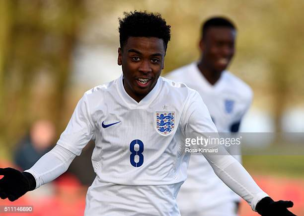 Angel Gomes of England celebrates after scoring during the England v Czech Republic U16s International Friendly at St Georges Park on February 18...