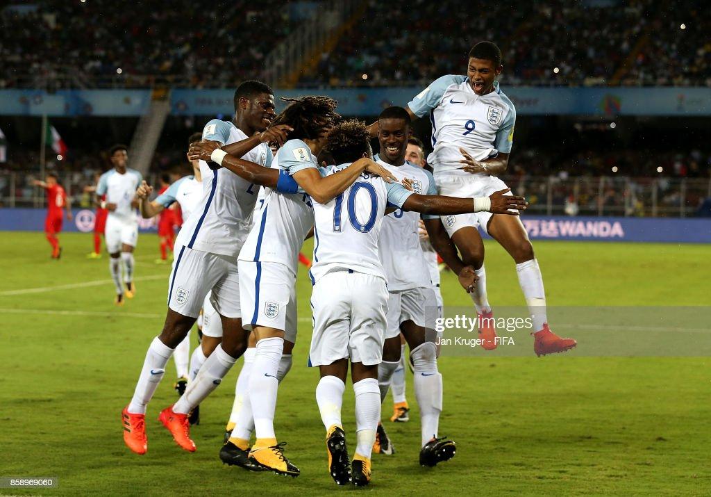 Angel Gomes of England celebrates his goal with team mates during the FIFA U-17 World Cup India 2017 group F match between Chile and England at Vivekananda Yuba Bharati Krirangan on October 8, 2017 in Kolkata, India.