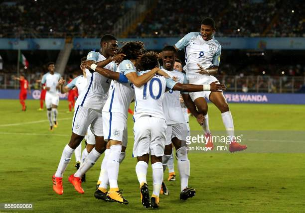Angel Gomes of England celebrates his goal with team mates during the FIFA U17 World Cup India 2017 group F match between Chile and England at...