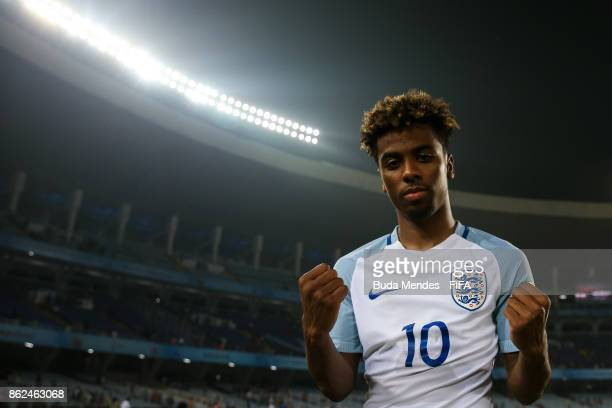 Angel Gomes of England celebrates the victory against Japan during the FIFA U17 World Cup India 2017 Round of 16 match between England and Japan at...