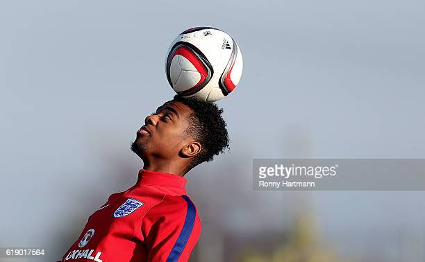 Angel Gomes of England heads the ball during the U17 England Training Session at Football Centre FRF on October 29 2016 in Buftea Romania