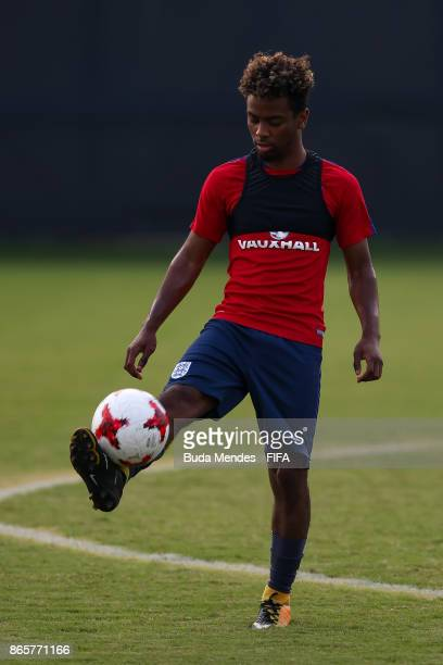 Angel Gomes of England in action during the training session ahead of the FIFA U17 World Cup India 2017 tournament at Kolkata 1 Training Centre on...