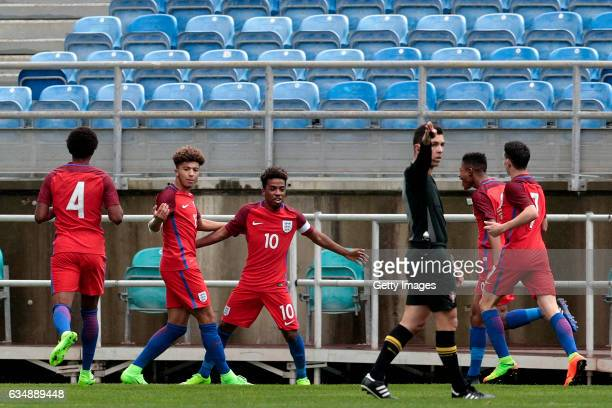 Angel Gomes of England U17 celebrates a goal with his teammates during the U17 Algarve Cup Tournament Match between England U17 and Germany U17 on...