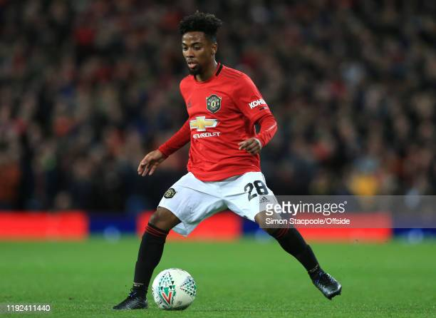 Angel Gomes of Man Utd during the Carabao Cup Semi Final match between Manchester United and Manchester City at Old Trafford on January 7, 2020 in...