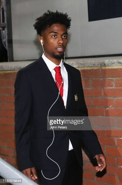Angel Gomes of Manchester United arrives ahead of the Premier League match between Crystal Palace and Manchester United at Selhurst Park on February...