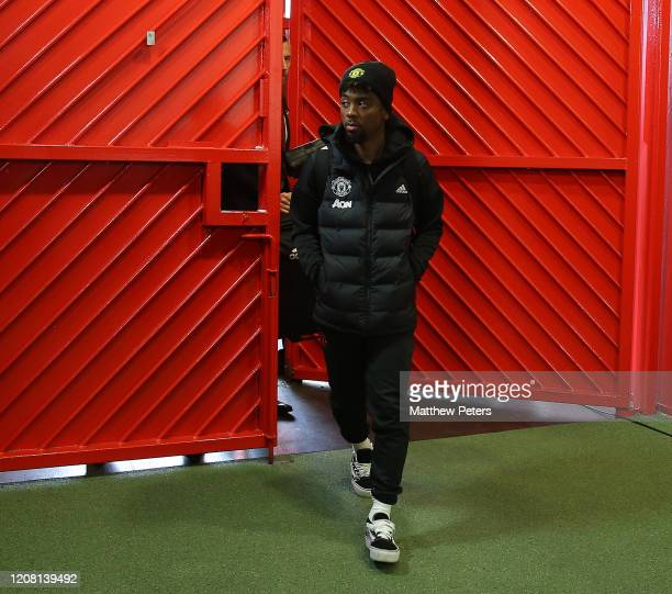 Angel Gomes of Manchester United arrives ahead of the Premier League match between Manchester United and Watford FC at Old Trafford on February 23,...