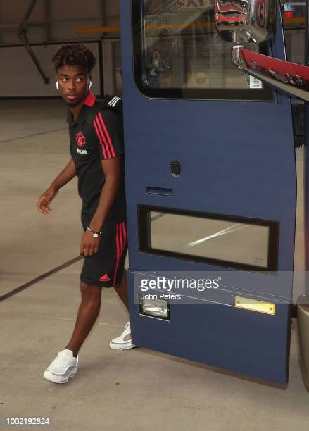 Angel Gomes of Manchester United arrives ahead of the preseason friendly match between Manchester United and Club America at University of Phoenix...
