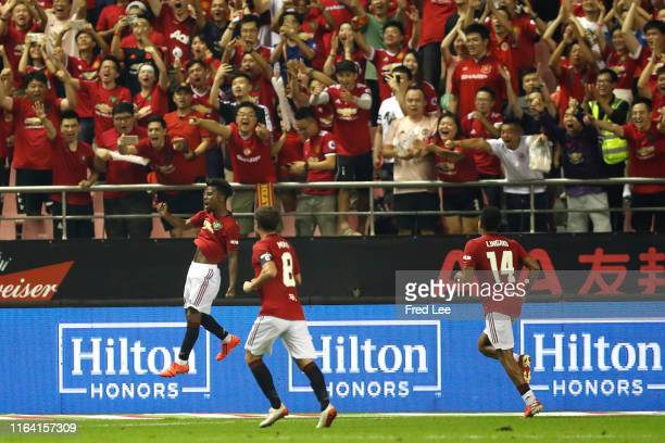 Angel Gomes of Manchester United celebrates scoring his side's second goal during the International Champions Cup match between Tottenham Hotspur and...