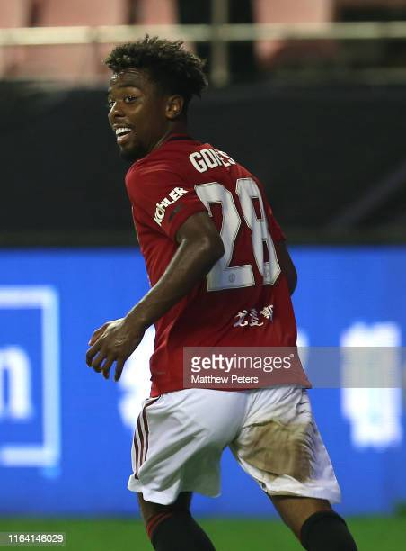 Angel Gomes of Manchester United celebrates scoring their second goal during the International Champions Cup match between Tottenham Hotspur and...