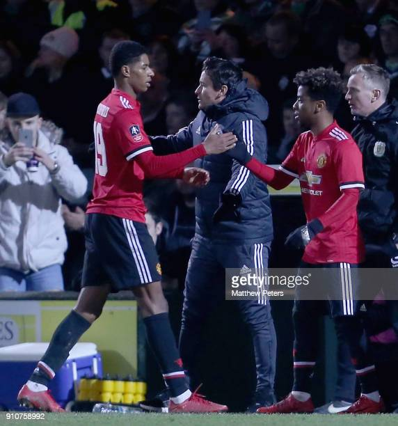 Angel Gomes of Manchester United comes on as a substitute for Marcus Rashford during the Emirates FA Cup Fourth Round match between Yeovil Town and...