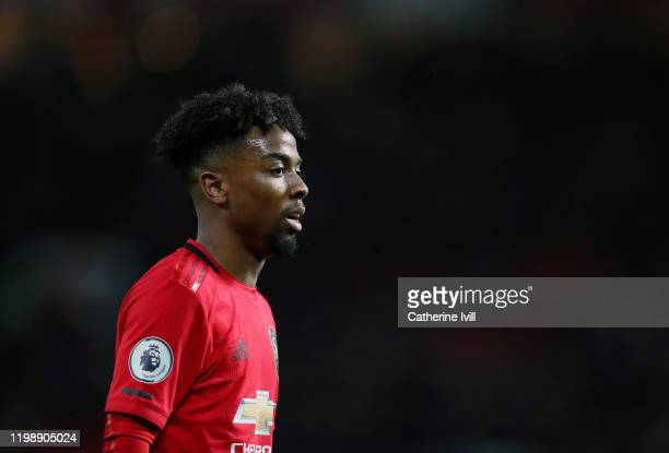 Angel Gomes of Manchester United during the Premier League match between Manchester United and Norwich City at Old Trafford on January 11, 2020 in...