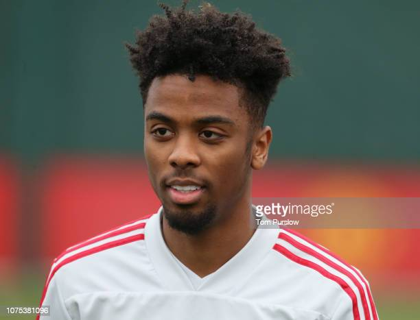 Angel Gomes of Manchester United in action during a first team training session at Aon Training Complex on December 28 2018 in Manchester England