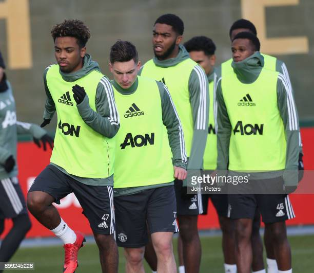 Angel Gomes of Manchester United in action during a first team training session at Aon Training Complex on December 28 2017 in Manchester England