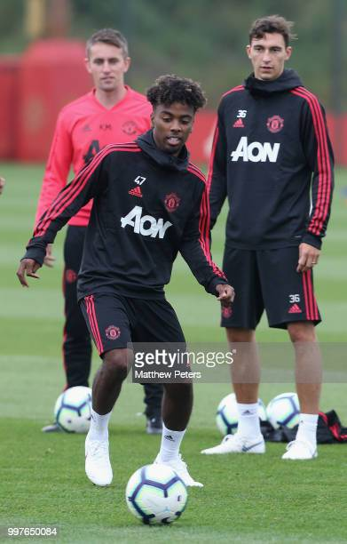 Angel Gomes of Manchester United in action during a first team training session at Aon Training Complex on July 13 2018 in Manchester England