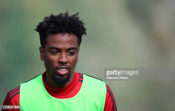 Angel Gomes of Manchester United in action during a first team training session on February 13, 2020 in Malaga, Spain.