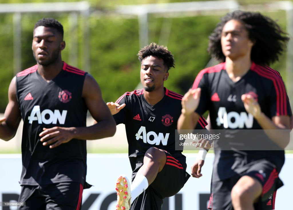 Angel Gomes of Manchester United in action during a Manchester United pre-season training session at UCLA on July 20, 2018 in Los Angeles, California.