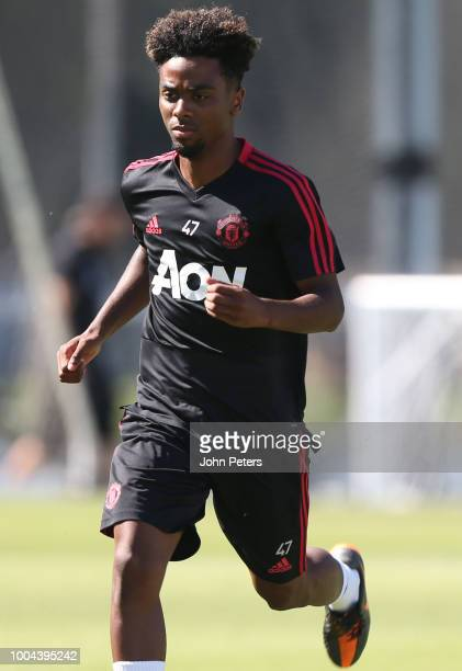 Angel Gomes of Manchester United in action during a Manchester United preseason training session at UCLA on July 23 2018 in Los Angeles California