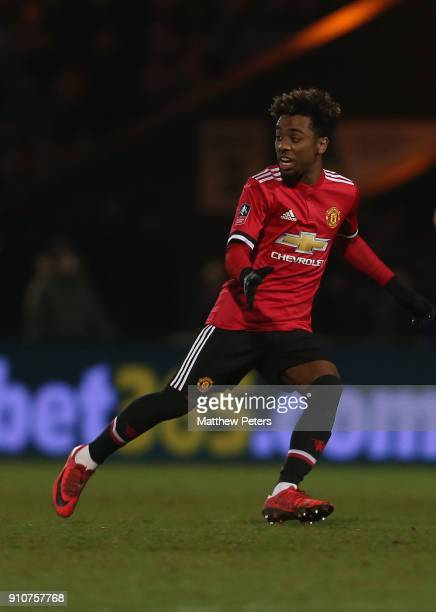 Angel Gomes of Manchester United in action during the Emirates FA Cup Fourth Round match between Yeovil Town and Manchester United at Huish Park on...