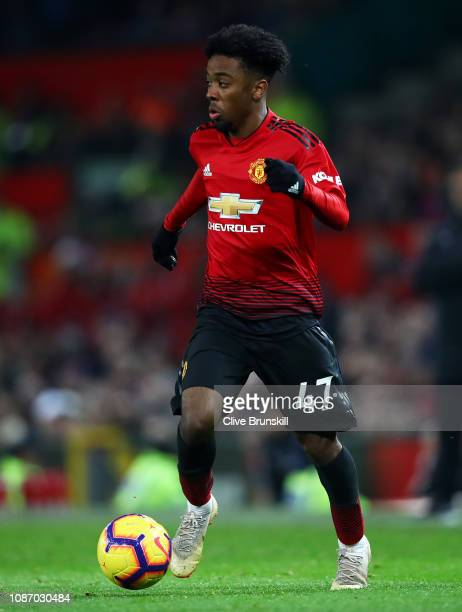 Angel Gomes of Manchester United in action during the Premier League match between Manchester United and Huddersfield Town at Old Trafford on...