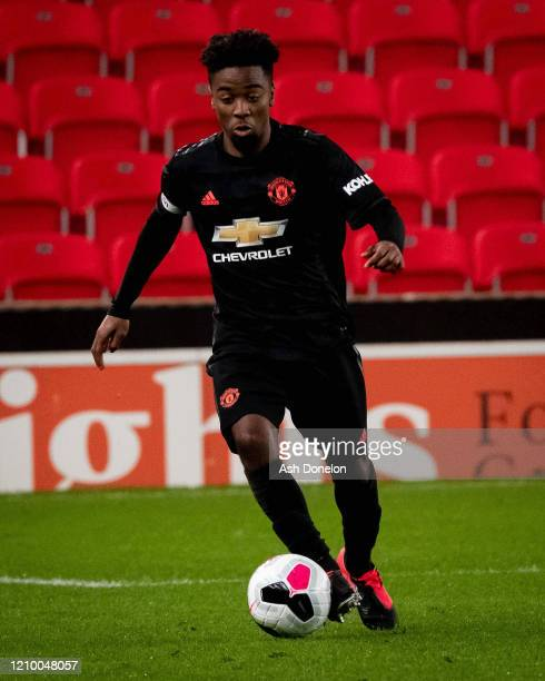 Angel Gomes of Manchester United in action during the Premier League 2 match between Stoke City U23s and Manchester United U23s at Britannia Stadium...