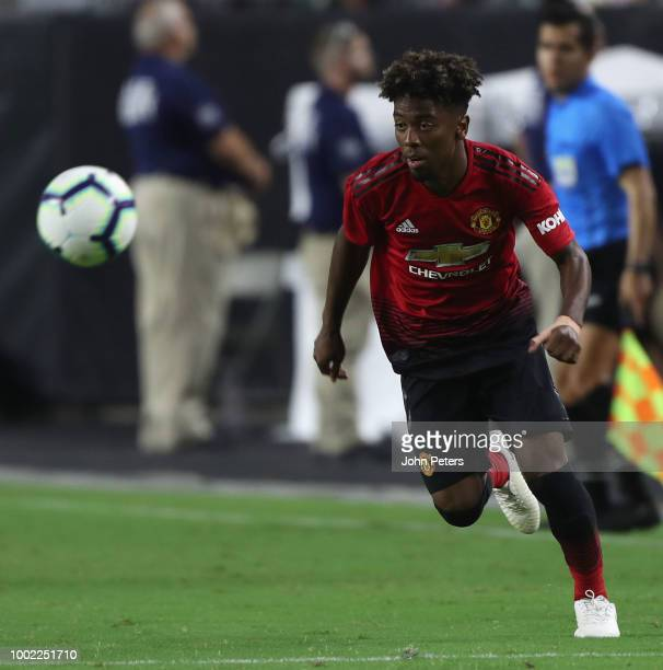 Angel Gomes of Manchester United in action during the preseason friendly match between Manchester United and Club America at University of Phoenix...
