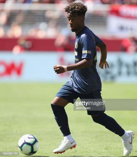 Angel Gomes of Manchester United in action during the preseason friendly match between Manchester United and San Jose Earthquakes at Levi's Stadium...