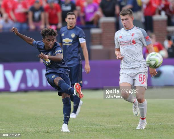 Angel Gomes of Manchester United in action during the preseason friendly match between Manchester United and Liverpool at Michigan Stadium on July 28...