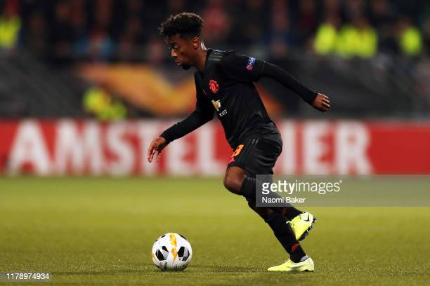Angel Gomes of Manchester United in action during the UEFA Europa League group L match between AZ Alkmaar and Manchester United at AFAS-Stadium on...